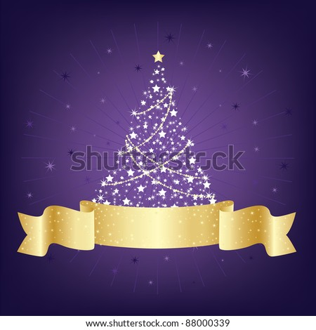 purple and gold christmas tree decoration with blank ribbon for your text