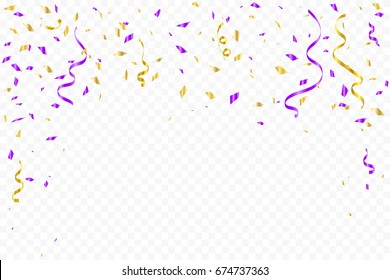 Purple And Gold Confetti With Ribbon Falling On Transparent Background. Celebration & Birthday. Vector Illustration