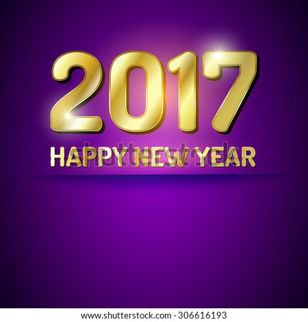 purple and gold greeting card for new year 2017
