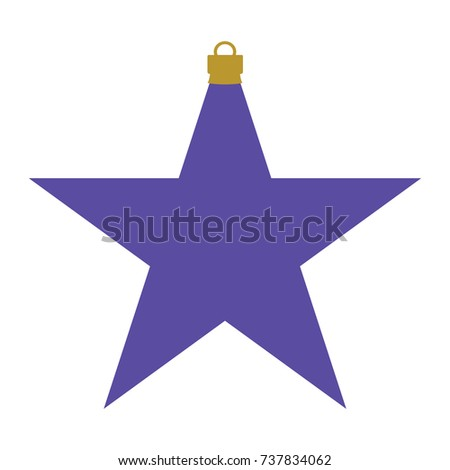 Christmas Star Silhouette.Purple Gold Silhouette Christmas Star Bauble Stock Vector