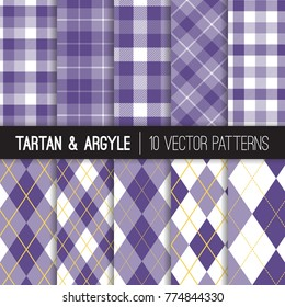 Purple Golf Style Argyle and Tartan Plaid Patterns. Sport Fashion Prints in Lavender, White, Golden Yellow and Ultra Violet - 2018 of the Year. Pattern Tile Swatches included.