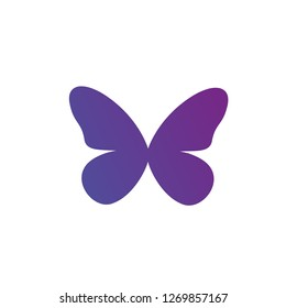 Purple gradient Butterfly Logo icon. vector illustration isolated on white background. clean design.