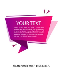 Purple gradient origami banner for your text. Text box for presentation or promotion. Vector illustration