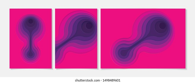 Purple gradient pink paper poster textured with wavy layers. paper cut deeps style.