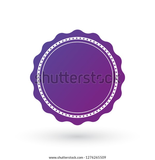 Purple gradient smooth edged burst with stars, badge, seal or label with line around. flat vector illustration for apps and packaging, isolated on white background.