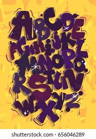 Purple graffiti font on a yellow background