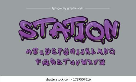 Purple Graffiti Style Modern Typography Artistic Font Design