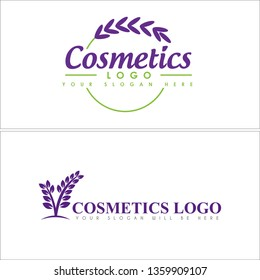 Purple green line art leaf ribbon circle combination mark logo design concept suitable for cosmetics beauty lavender product