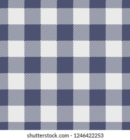 Purple & grey gingham / vichy check plaid pixel pattern for fabric design.