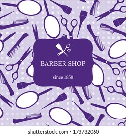 Purple hairdressing tools template for barber shop