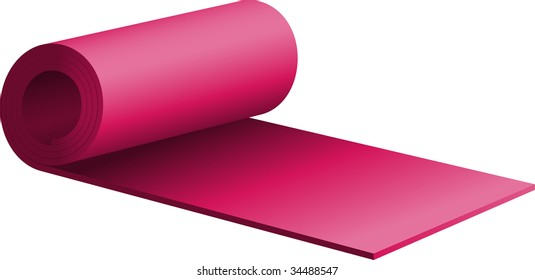 Purple half-rolled exercise mat