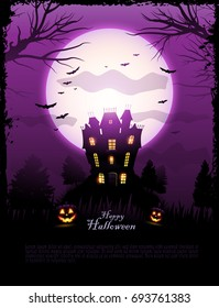 Purple Halloween haunted house background vector illustration, with place for text and moon in the sky