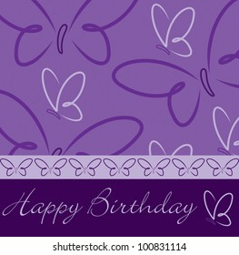 Purple hand drawn Happy Birthday butterfly card in vector format.