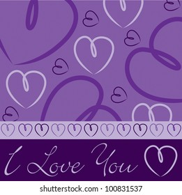 Purple hand drawn heart card in vector format.