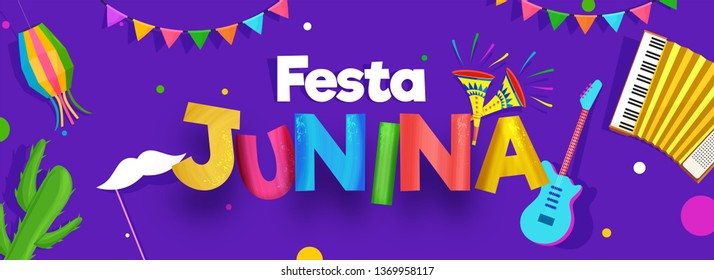 Purple header or banner design decorated with party elements such as guitar, harmonium and cactus illustration for Festa Junina celebration concept.