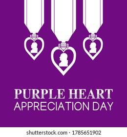 Purple Heart Appreciation Day Vector Illustration