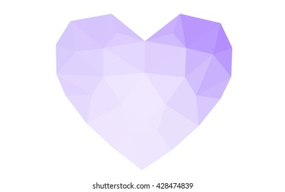 Purple heart isolated on white background. Geometric rumpled triangular low poly origami style gradient graphic illustration. Vector polygonal design for your business.