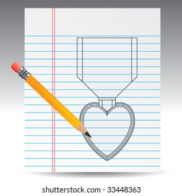 purple heart medal drawn on notebook paper with pencil