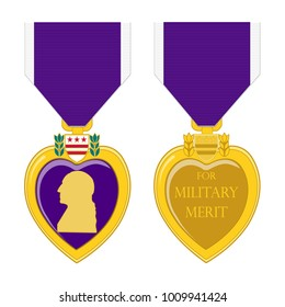 Purple heart medal front and back on a white background.