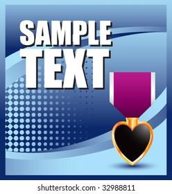 purple heart medal on blue halftone banner