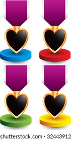 purple heart medal on colored display