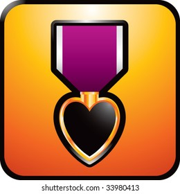 purple heart medal on glossy web button