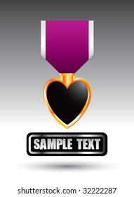 purple heart medal on nameplate