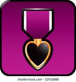 purple heart medal on purple web button