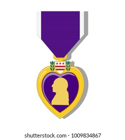 Purple heart medal on a white background.