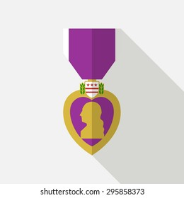 Purple Heart symbol on white background