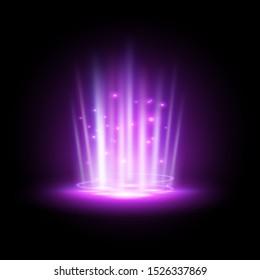 Purple hologram or podium projector, concert beam or night club ray, ufo teleport or blue summon tunnel, vortex or spotlight, luminous floodlight or futuristic light effect. Futuristic background