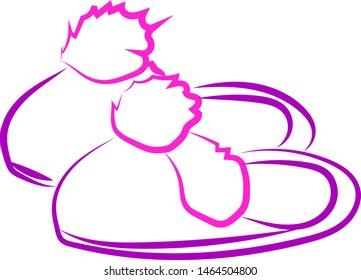 Purple hosue slippers, illustration, vector on white background.