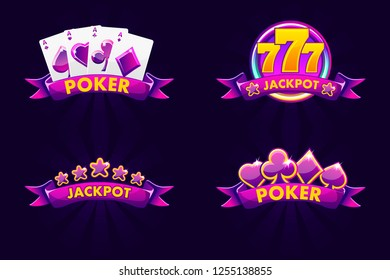 Purple jackpot and POKER emblem. Icons for lottery or casino, slot icon with ribbon and 777. Vector Isolated four emblem