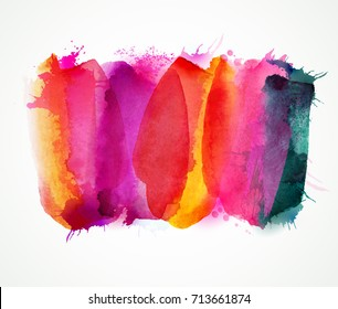 Purple, lilac, magenta and pink watercolor stains. Bright color element for abstract artistic background.