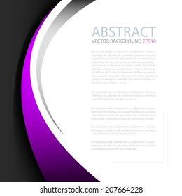 Purple line on black background with white space for text and message modern artwork design