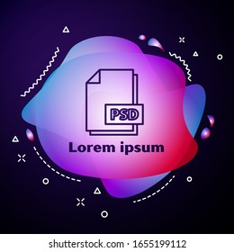 Purple line PSD file document. Download psd button icon isolated on blue background. PSD file symbol. Abstract banner with liquid shapes. Vector Illustration