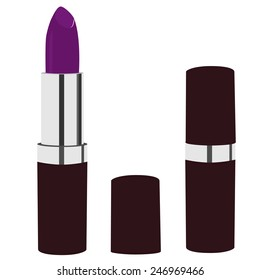 Purple lipstick vector icon isolated, cosmetic, glamour