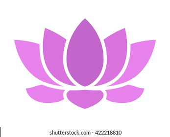 Purple lotus flower blossom flat vector icon for apps and websites