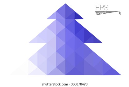 Purple low polygon style christmas tree vector illustration consisting of triangles . Abstract triangular polygonal origami or crystal design of New Years celebration. Isolated on white background.