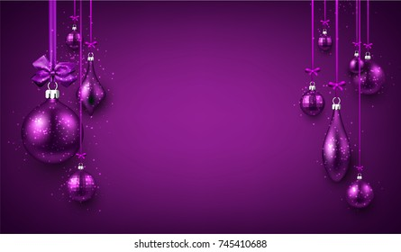 Purple luminous New Year background with Christmas balls. Vector illustration.