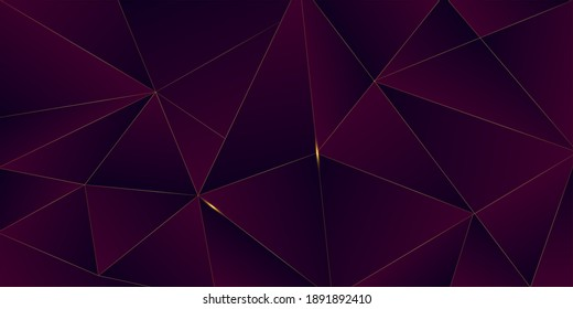 Purple Luxury Gold Background. Golden Rich VIP Polygon Border 3D Abstract Polygonal Sparkle Cover. Royal Premium Business Banner New Year Christmas Celebration Frame. Gold Luxury Crystal Card