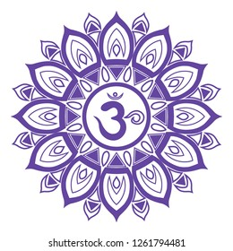 The purple mandala, the seventh chakra of a person, the symbol Om in the center - the meaning of the inscription in Sanskrit.