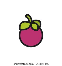 Purple mangosteen. Vector icon