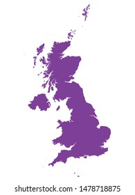 Purple Map of European Country of United Kingdom