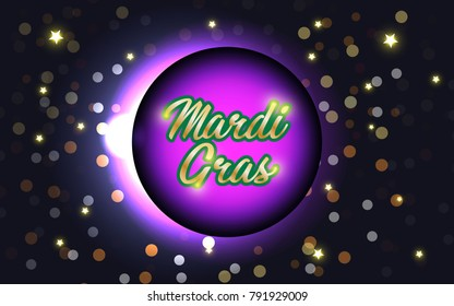 Purple Mardi Gras celebration banner or greeting card with flying golden and white confetti, some are out of focus. Vector illustration. EPS 10.