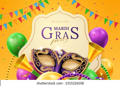Purple mask with diamonds for carnival at mardi gras invitation flyer. Balloons and horns, beads and flags, crepe paper streamer at venice parade background. New Orlean parade banner. Venetian holiday