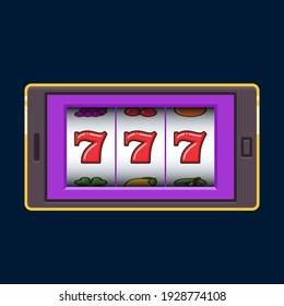 Purple mobile phone slot machine jackpot lucky wins vector illustration