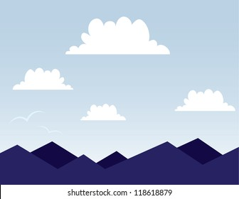 Purple mountain scene with clouds
