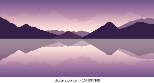 purple mountain and water landscape vector illustration EPS10