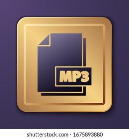 Purple MP3 file document. Download mp3 button icon isolated on purple background. Mp3 music format sign. MP3 file symbol. Gold square button. Vector Illustration
